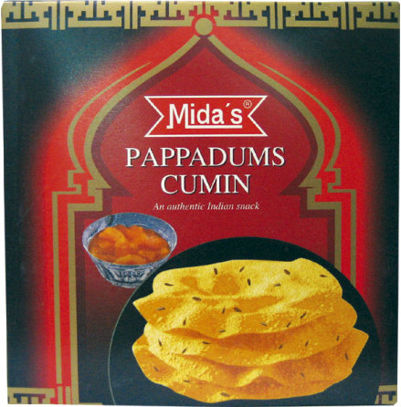 Pappadums Cumin (Jeera) 110g Mida