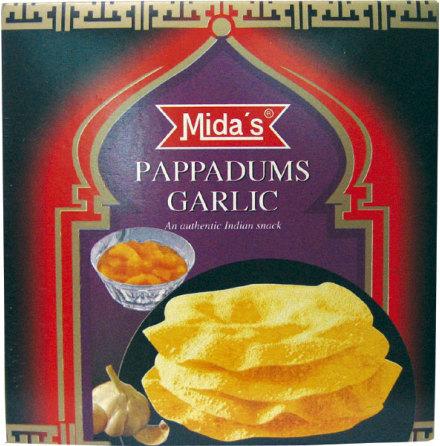 Pappadums Garlic 110g Mida