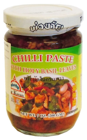 Chili Paste w/Holy Basil 200g Por Kwan
