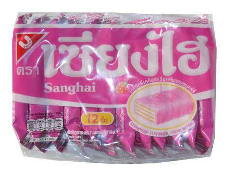 Sanghai Wafers Strawberry 72g