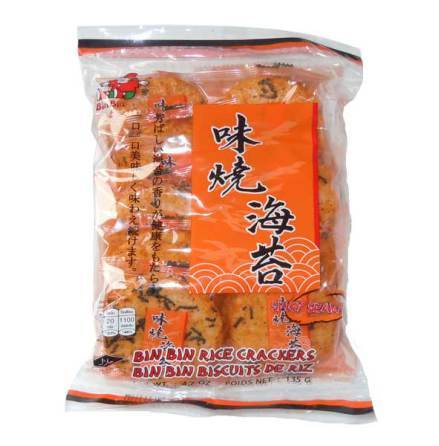 Bin Bin Rice Cracker Spicy Seaweed 135g